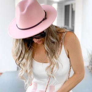 Accessories - Pink belted fedora hat